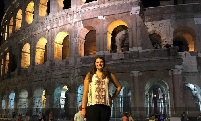 Student on study abroad trip to Italy